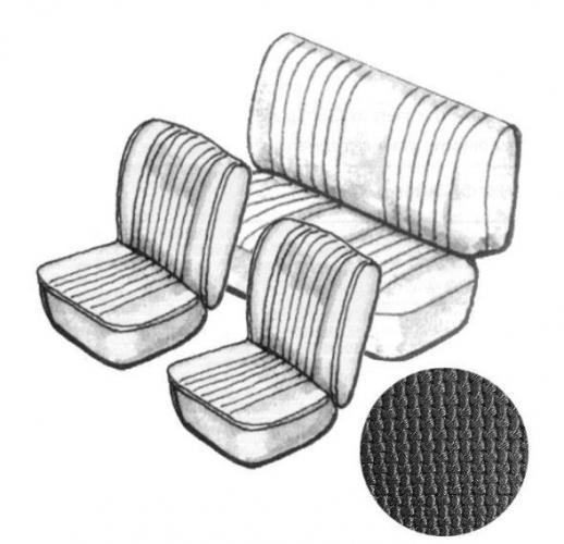 Cabrio Sitzbezug Set schwarz ohne Kopfteil grobmaschig 8/72»7/73 Bild 1
