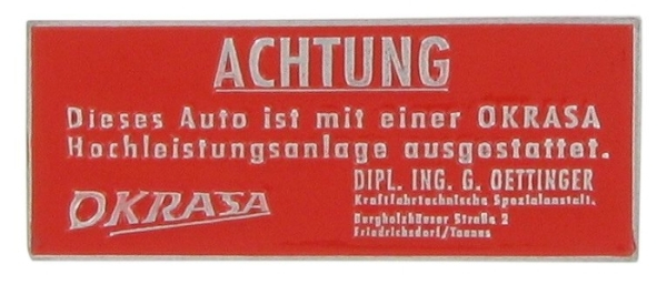 Abzeichen Armaturenbrett Okrasa Warning Bild 1