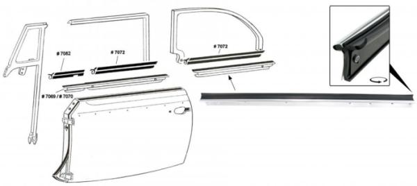 Fensterdichtung hinten links außen mit Zierleiste Cabrio Bild 1