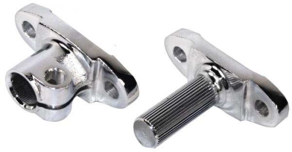 Lenksäule / Lenkgetriebe Adapter (oben + unten) Chrom Bild 1