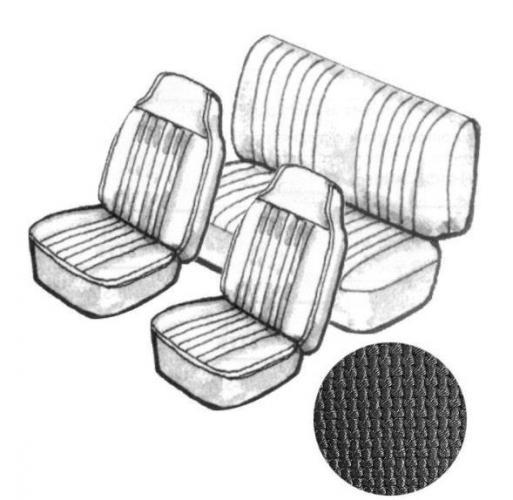 Cabrio Sitzbezug Set schwarz mit Kopfteil grobmaschig 8/69»7/72 Bild 1