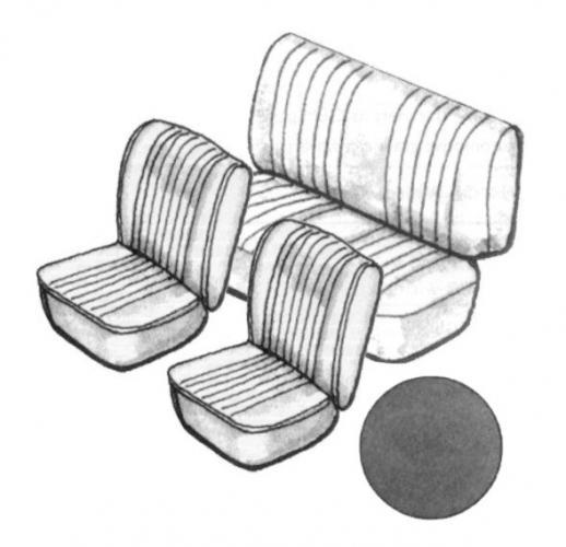 Cabrio Sitzbezug Set schwarz ohne Kopfteil glatt 8/55»7/64 Bild 1