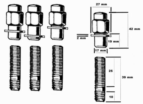 Radschrauben-Set Muttern - Bolzen - Unterlegscheiben Bild 1