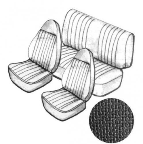 Cabrio Sitzbezug Set schwarz mit Kopfteil grobmaschig 8/72»7/73 Bild 1