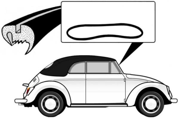 Dichtung Frontscheibe Deluxe Cabrio vorgeformt ohne Zierleisten Profil