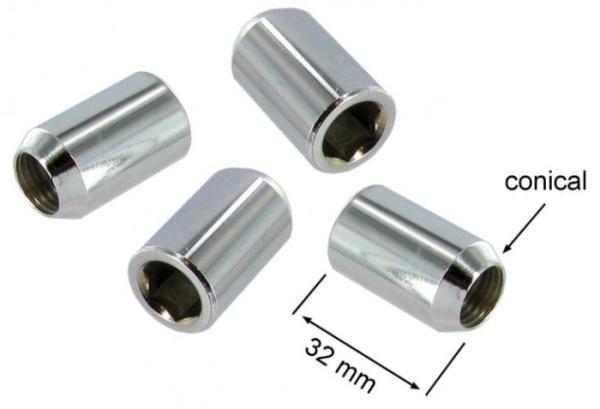 Radmuttern Stahl verchromt Spezialschlüssel Bild 1