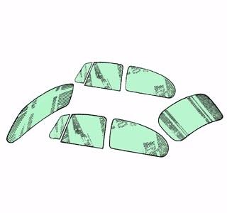 Scheibenset grün getönt Standard 8/57»7/64 Bild 1