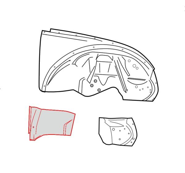Radhaus / Innenkotflügel Reparaturblech vorne rechts