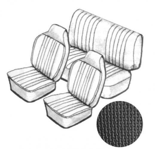 Cabrio Sitzbezug Set schwarz mit Kopfteil grobmaschig 8/67»7/69 Bild 1